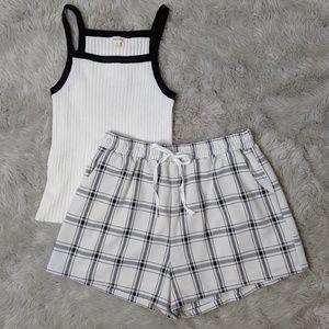Plaid Drawstring Shorts